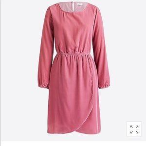 J. Crew Pink Tulip Hem Velvet Dress